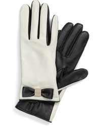 Kate Spade - Bow Logo Genuine Leather Gloves - Lyst