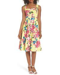 Eliza J - Square Neck Floral Tiered Fit & Flare Midi Dress - Lyst