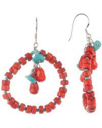 Peyote Bird - Sterling Silver Turquoise & Coral Front-facing Hoop Earrings - Lyst