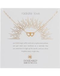 Dogeared - 14k Gold Plated Sterling Silver Radiate Love Linked Hearts Pendant Necklace - Lyst