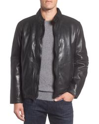Andrew Marc - Calfskin Leather Moto Jacket - Lyst