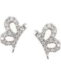 Bony Levy - 18k White Gold Pave Diamond Looped Cutout Stud Earrings - Lyst