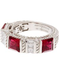 Judith Ripka - Sterling Silver Red & White Cz Ring - Lyst
