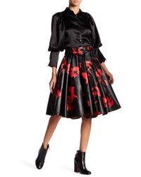 Gracia - High Waist Floral Pleated Faux Leather Skirt - Lyst
