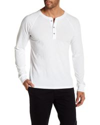 AG Jeans - Crew Neck Quarter Button Down Long Sleeve Tee - Lyst