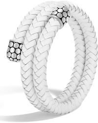 John Hardy - White Leather Dotted Sterling Silver Double Coil Bracelet - Lyst