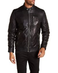 Lamarque - Quilted Shoulder Leather Racer Jacket - Lyst