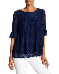 Pleione - Tiered Stretch Lace Blouse - Lyst