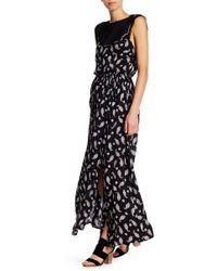 Blush Noir - Paisley Print Twofer Maxi Dress - Lyst