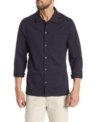 Michael Bastian Long Sleeve French Terry Stretch Shirt