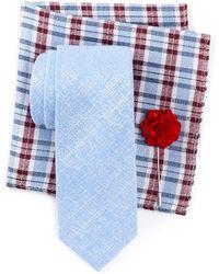 Ben Sherman - Raglen Solid Tie, Pocket Square, & Lapel Stick Pin Set - Lyst