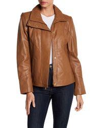 Ellen Tracy - Stand Collar Leather Scuba Jacket - Lyst