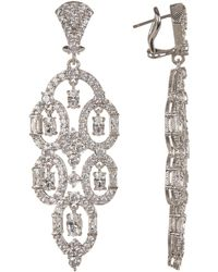 Judith Ripka - Sterling Silver Cz Pierced Earrings - Lyst