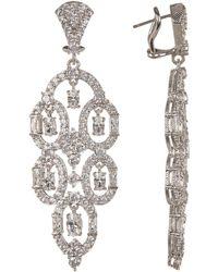 Judith Ripka - Sterling Silver Cz Pierced Earrings - Lyst