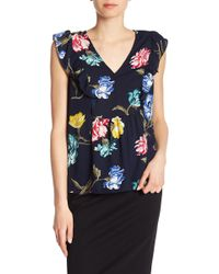 Joe Fresh - Floral Print Ruffle Front Top - Lyst