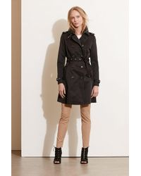 Lauren by Ralph Lauren - Faux Leather Trim Trench Coat - Lyst