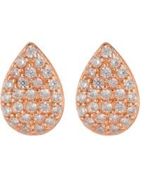Argento Vivo - 18k Rose Gold Plated Sterling Silver Cz Pave Teardrop Earrings - Lyst