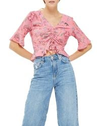 TOPSHOP - Ruby Magical Leopard Ruched Blouse - Lyst