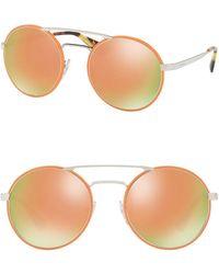 e53656f02d7f Lyst - Prada 54mm Round Mirrored Sunglasses in Blue