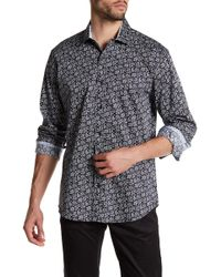 Bristol & Bull - Long Sleeve Contrast Trim Paisley Classic Fit Sport Shirt - Lyst