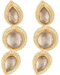 Anna Beck - 18k Gold Plated Sterling Silver Triple Smokey Quartz Stud Earrings - Lyst