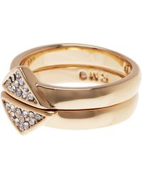 Rebecca Minkoff - Triangle Stack Ring Set - Size 7 - Lyst