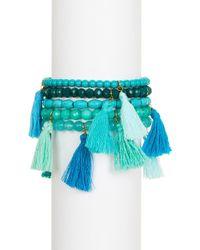 Panacea - Beaded Tassel Stretch Bracelet Set - Set Of 5 - Lyst