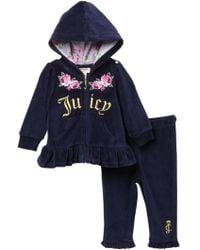 Juicy Couture - Navy Velour Floral Hoodie & Pants Set (baby Girls 3-9m) - Lyst