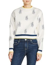 Maje   Tiger Embroidered Crop Sweatshirt   Lyst