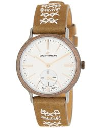 Lucky Brand - Women's Ventana Embroidered Leather Strap Watch, 34mm - Lyst