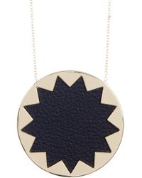House of Harlow 1960 - Leather Detail Sunburst Pendant Necklace - Lyst