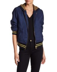 True Religion - Ribbed Bomber Hoodie - Lyst