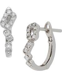 Bony Levy - 18k White Gold Diamond Detail Cutout Huggie Earrings - Lyst