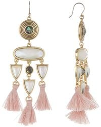 Lucky Brand - Multishape Stone & Tassel Drop Earrings - Lyst