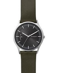 Skagen - Men's Holst Leather Strap Watch - Lyst