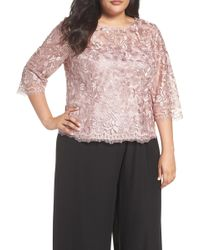 Alex Evenings - Embroidered Mesh Blouse - Lyst