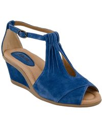 Earth - Earth 'caper' T-strap Wedge Sandal - Lyst