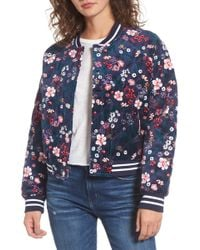Juicy Couture - Floral Quilted Velour Bomber Jacket - Lyst