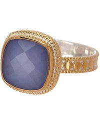 Anna Beck - 18k Gold Plated Blue Chalcedony Marquis Cocktail Ring - Lyst