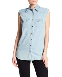Angie - Sleeveless Denim Vest - Lyst