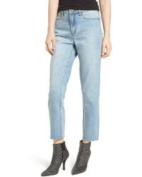 Leith - High Waist Crop Straight Leg Jeans - Lyst