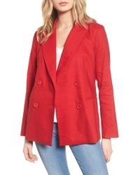 Leith - Double Breasted Linen Blend Blazer - Lyst