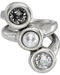 Uno De 50 - Super-ego Bezel Set Swarovski Crystal Accented & Simulated Pearl Ring - Lyst