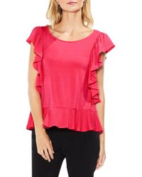 Vince Camuto - Ruffle Sleeve Mix Media Blouse - Lyst