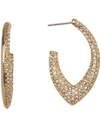 Jenny Packham - Pave Crystal 31mm Open Hoop Earrings - Lyst
