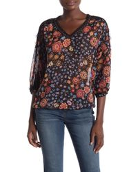 Democracy - Grommet & Lace Trimmed Floral Woven 3/4 Sleeve Blouse - Lyst