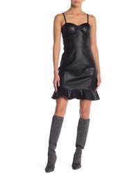 Gracia - Ruffled Hem Bustier Faux Leather Dress - Lyst