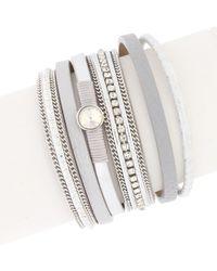 Saachi - New Majorca Crystal Multi-strand Leather Wrap Bracelet - Lyst