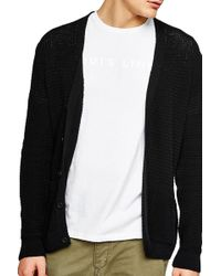 TOPMAN - Slim Fit Textured Cardigan - Lyst