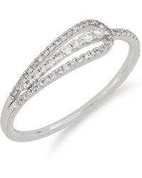 Bony Levy - 18k White Gold Diamond Detail Loop Ring - Size 7 - Lyst